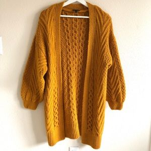 Topshop Mustard Chunky Knit Open Front Cardigan